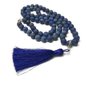 STERLING SILVER HAND SILK KNOTTED SODALITE NECKLACE - INNER PEACE TALISMAN