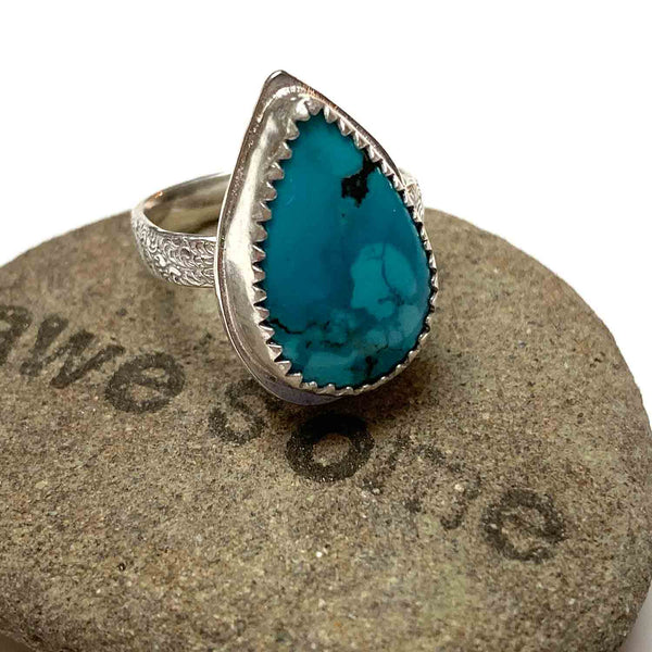 STERLING SILVER TURQUOISE TEARDROP BEZEL RING - I HEAL WITH LOVE TALISMAN