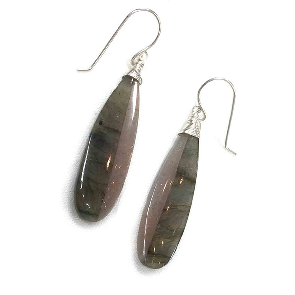 STERLING SILVER LABRADORITE SUNSTONE INTARSIA LONG DROP EARRINGS - ORIGINALITY TALISMAN