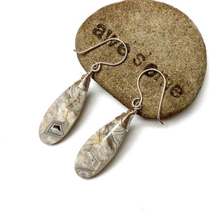 STERLING SILVER LAGUNA LACE AGATE EARRINGS - ZEST FOR LIFE TALISMAN