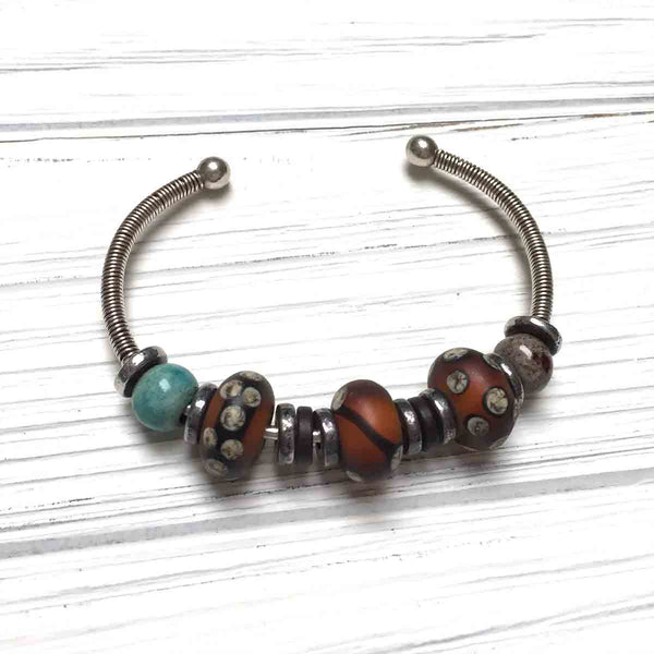 STERLING SILVER LAMPWORK BANGLE BRACELET - ME AND MOTHER EARTH TALISMAN