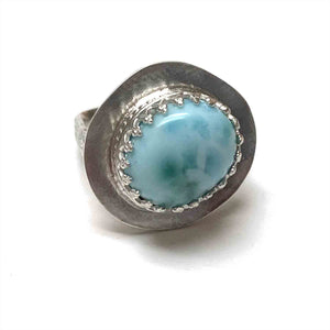 RESERVED/AVAILABLE ONLY AT FLUX METAL ARTS - STERLING SILVER LARIMAR BEZEL RING - A BALANCE OF FIRE AND WATER TALISMAN