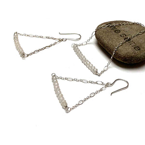 STERLING SILVER GEMSTONE BAR AND CHAIN EARRINGS - VARIOUS TALISMANS