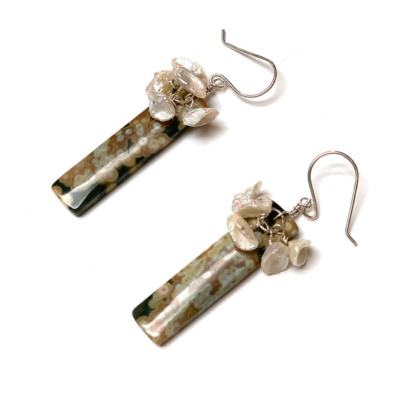 STERLING SILVER OCEAN JASPER FWP EARRINGS - GIVE ME A LIFT TALISMAN