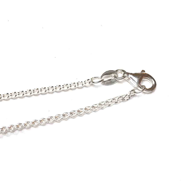 STERLING SILVER OPEN SQUARE CHAIN NECKLACE 1.55MM 18 INCHES