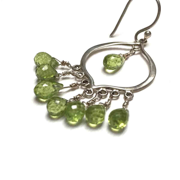 STERLING SILVER PERIDOT CHANDELIER EARRINGS - WARMTH AND ABUNDANCE TALISMAN
