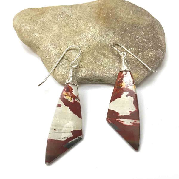 STERLING SILVER PICASSO JASPER MOTHER EARTH EARRINGS