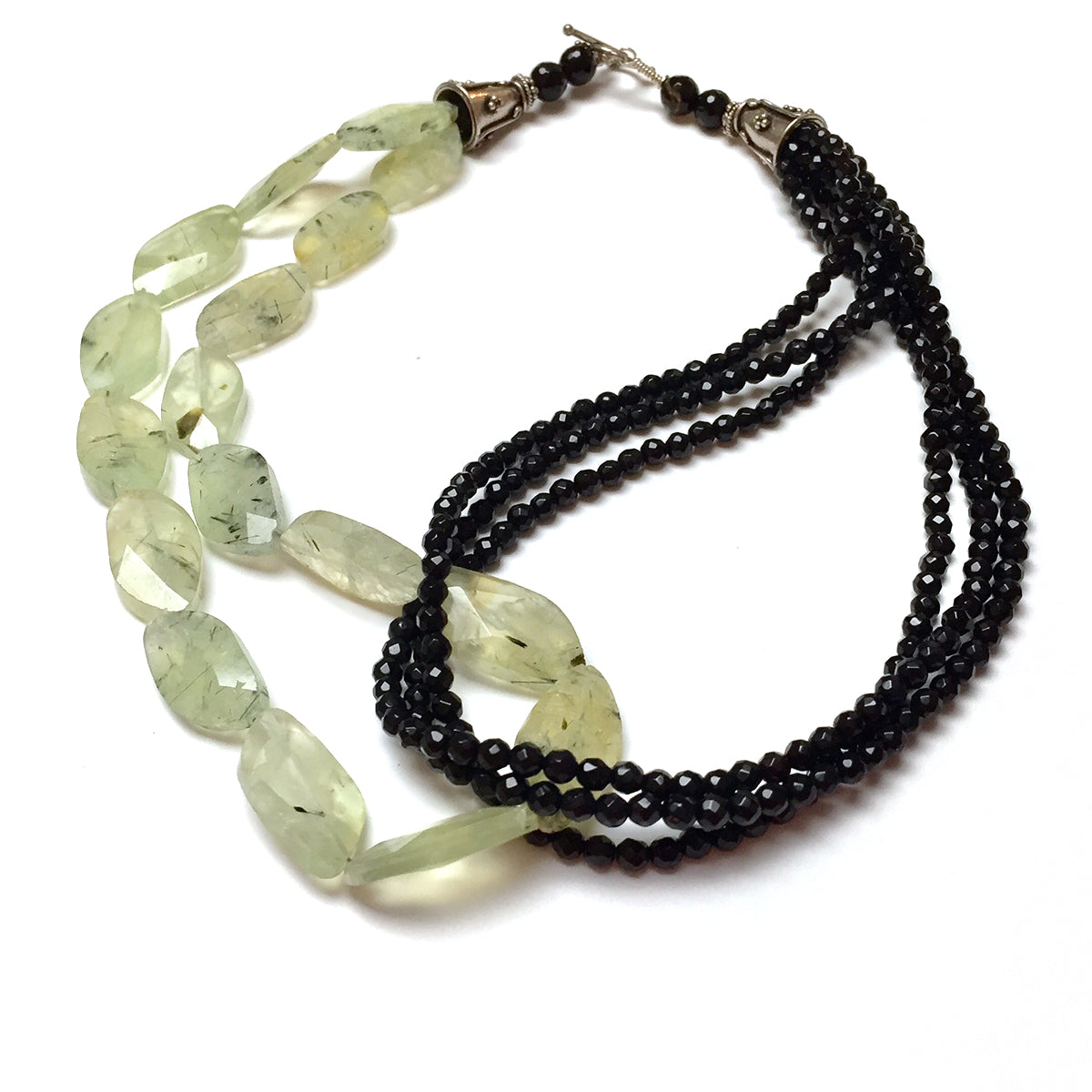 STERLING SILVER PREHNITE BLACK ONYX NECKLACE - DREAMSTONE TALISMAN