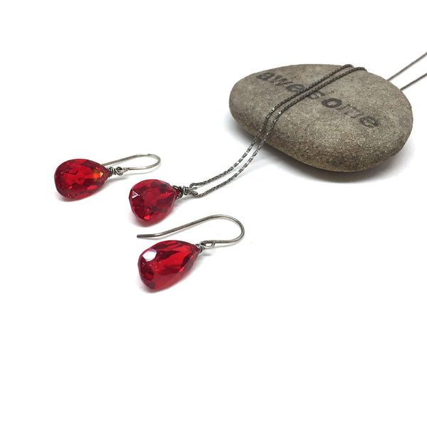 RESERVED FOR FLUX METAL ARTS - STERLING SILVER RED QUARTZ NECKLACE EARRINGS - SYNCH ME TALISMAN