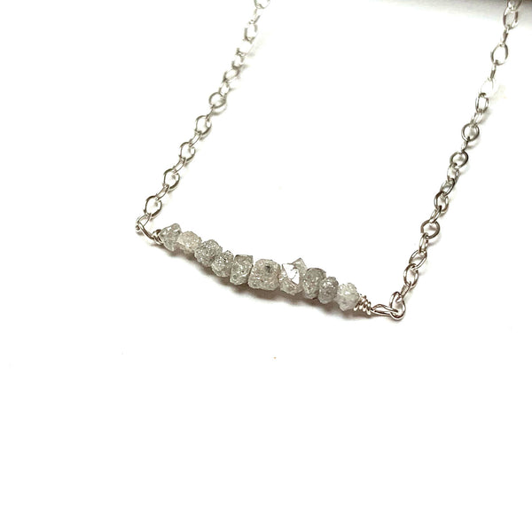 STERLING SILVER RAW DIAMOND NECKLACE - RICHNESS OF THE SELF TALISMAN