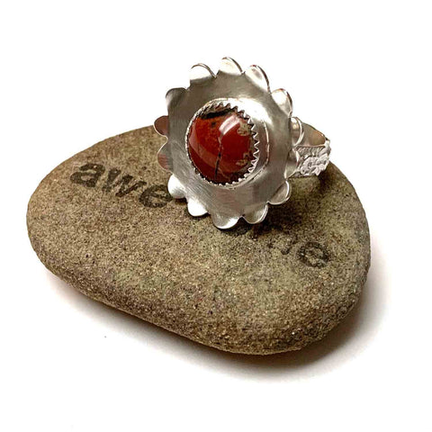 RESERVED FLUX METAL ARTS - STERLING SILVER RED JASPER FLOWER RING - MOTHER EARTH TALISMAN