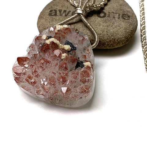 STERLING SILVER ROSE QUARTZ DRUZY WITH PYRITE NECKLACE - OPEN YOUR HEART TALISMAN