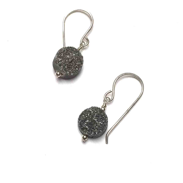 STERLING SILVER GREY SUGAR DRUZY EARRINGS - AS ABOVE SO BELOW TALISMAN