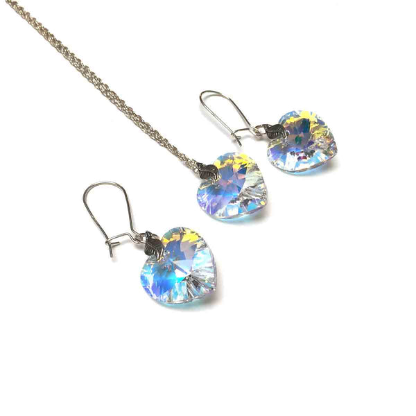 STERLING SILVER SWAROVSKI CRYSTAL AB HEART NECKLACE EARRINGS - OPEN MY HEART TALISMAN