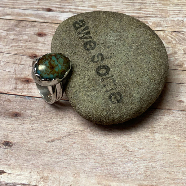 STERLING SILVER TURQUOISE SPLIT BAND RING - I HEAL WITH LOVE TALISMAN