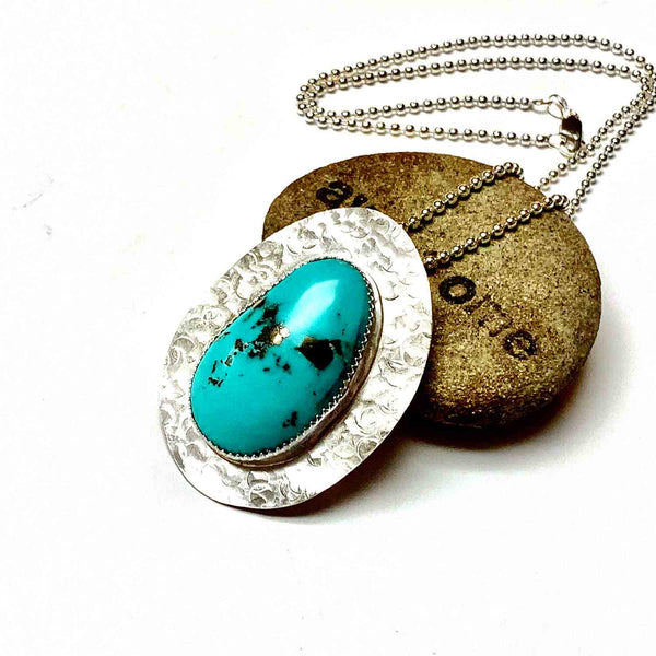RESERVED FOR FLUX METAL ARTS - STERLING SILVER TURQUOISE NECKLACE - HEAVEN AND EARTH TALISMAN