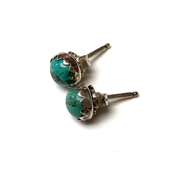 STERLING SILVER TURQUOISE POST EARRINGS - HEAVEN AND EARTH TALISMAN
