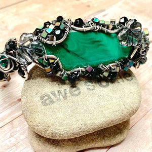 STERLING SILVER WRAPPED MALACHITE BANGLE - VISION TALISMAN