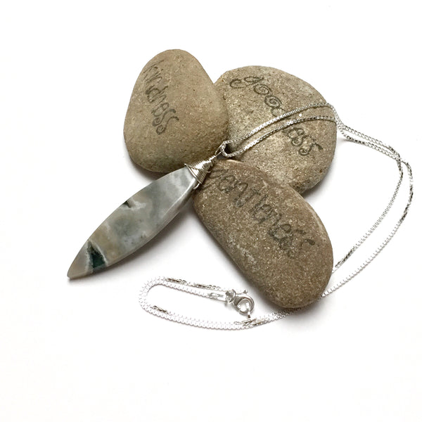 STERLING SILVER WRAPPED JASPER NECKLACE - MOTHER EARTH TALISMAN