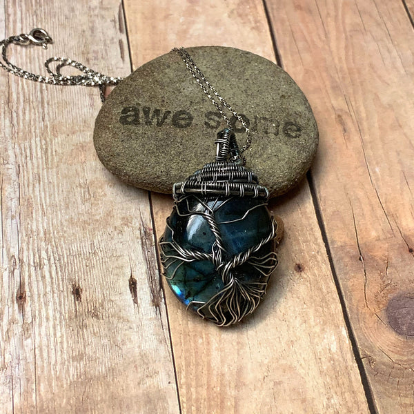 STERLING SILVER WRAPPED LABRADORITE TREE OF LIFE NECKLACE - UNIVERSALITY TALISMAN