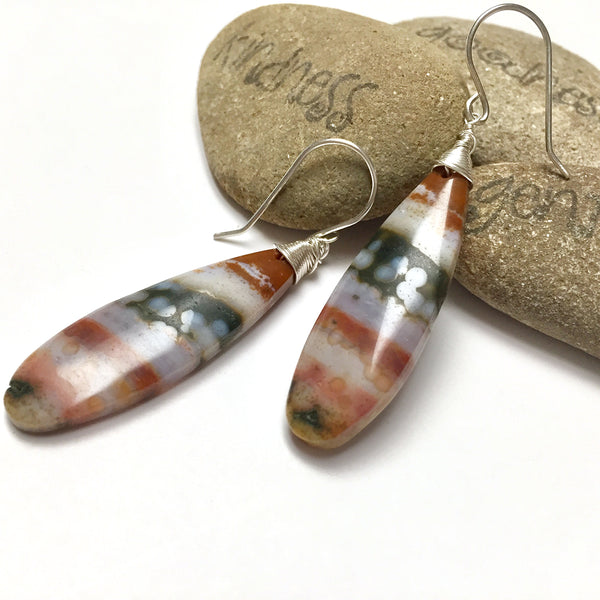 STERLING SILVER OCEAN JASPER EARRINGS - GIVE ME A LIFT TALISMAN