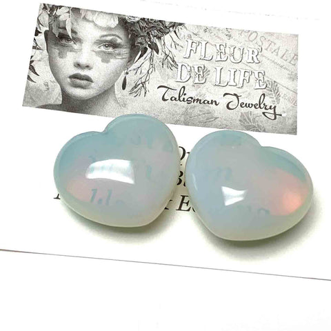 OPALITE HEART PALM STONE - EFFECTIVE COMMUNICATION TALISMAN
