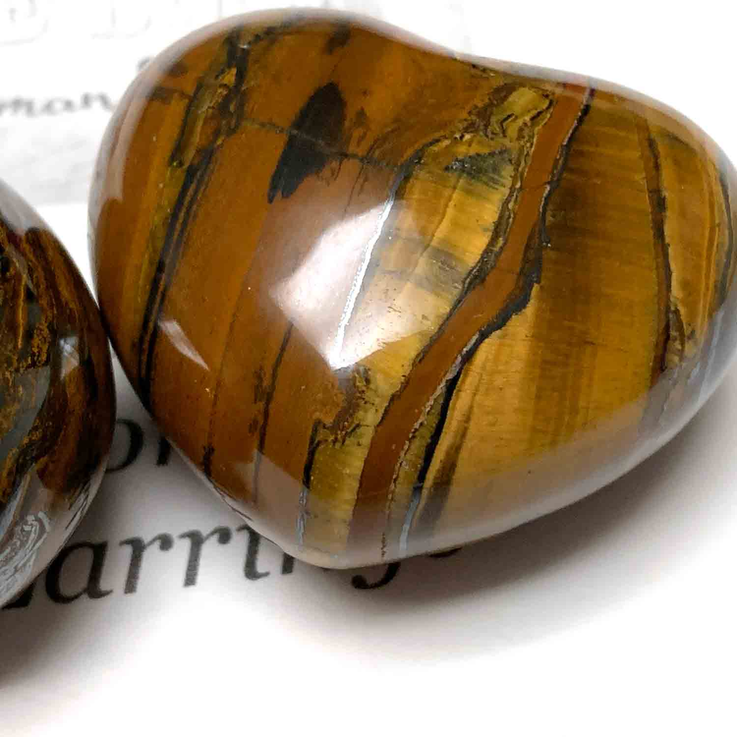 TIGER EYE HEART PALM STONE - THE MIDDLE PATH TALISMAN