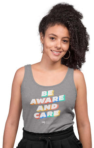 'Be Aware' Racerback Tank, Fitted