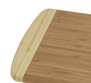 "Engraved Chooseveg logo on a heat and bacteria-resistant bamboo 12"" x 9"" x 3/4"" cutting board from Mercy For Animals. 