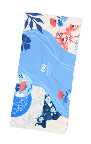 Blue Moo Beach Towel