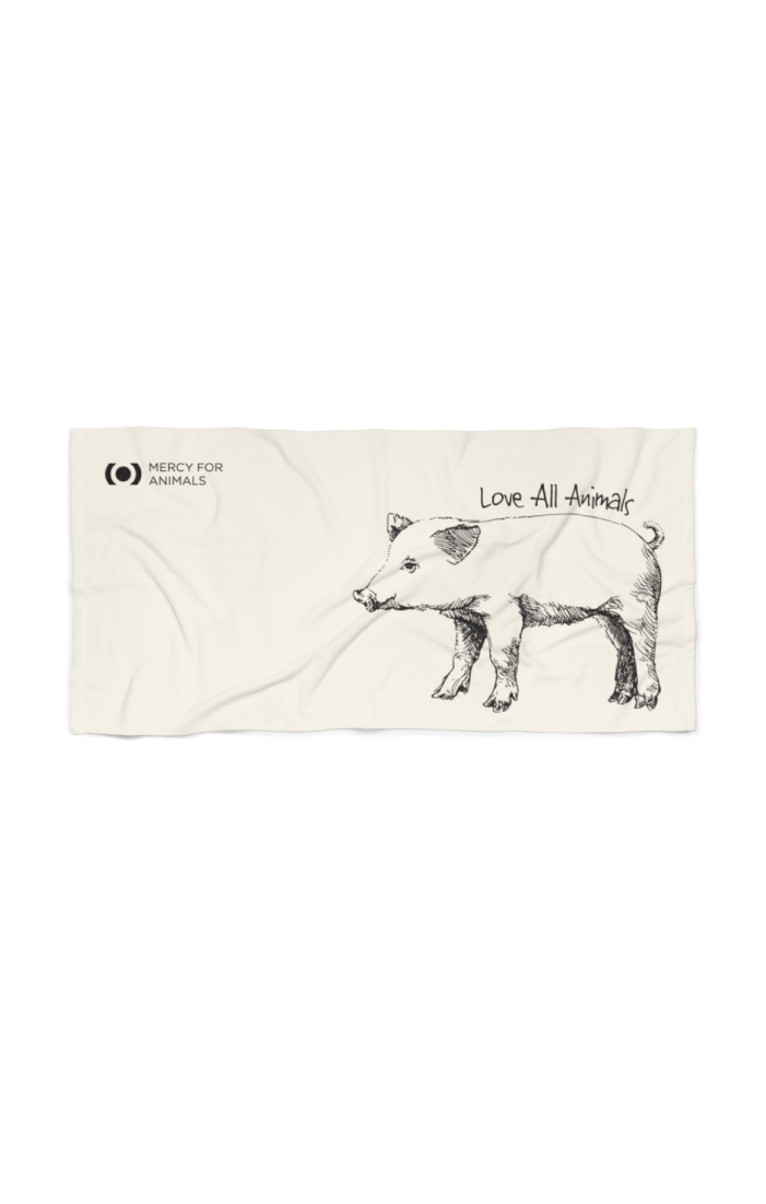 'Love All Animals' Beach Towel - Piglet