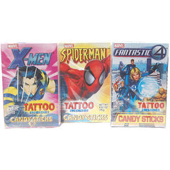 Super Hero Candy Sticks with Glow in the Dark Tattoo