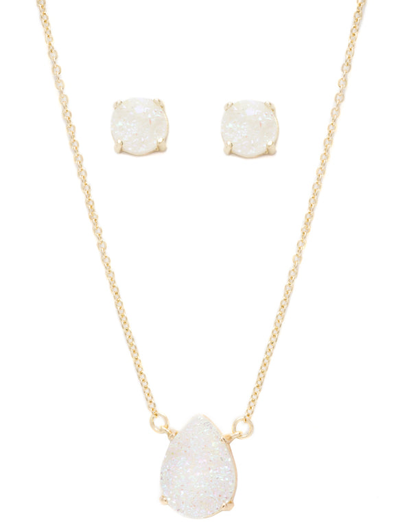 Druzy Necklace & Earring Set - White