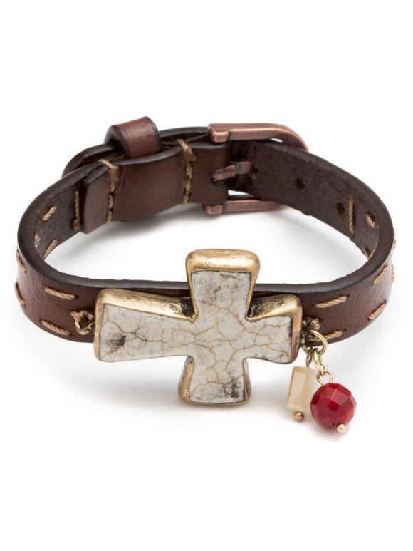 White Cross Buckle Bracelet