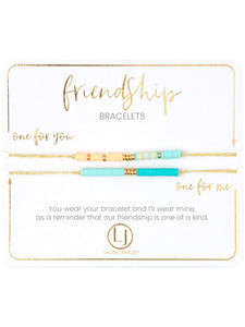 Friendship Bracelet Set- Green/Peach