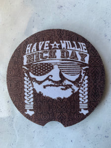 Willie Nice Day Car Coasters