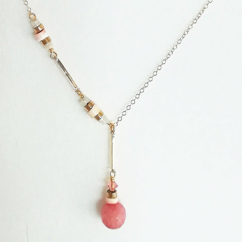 Shell, Swarovski & gold necklace