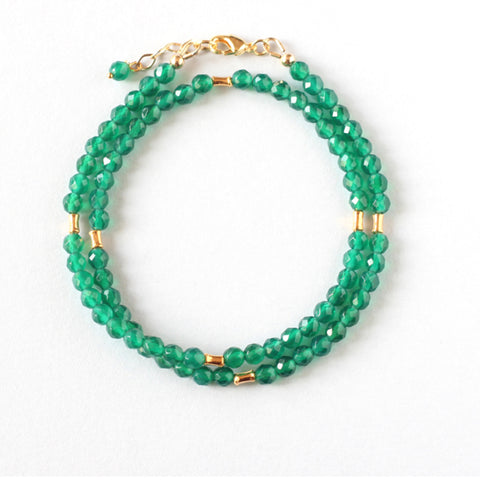 Green Agate Double Wrap Bracelet
