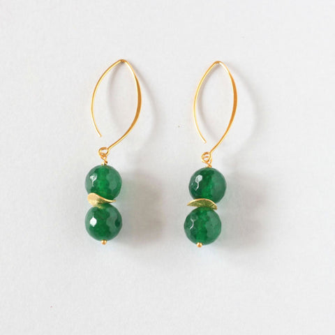 Green Agate Long Earrings
