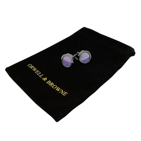 Lavender Cufflinks in Donegal Tweed
