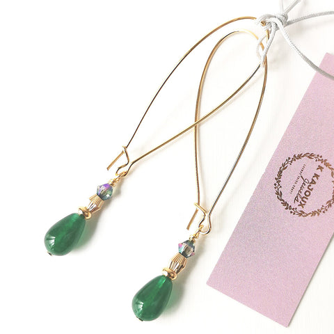 Green Aventurine Long Earrings