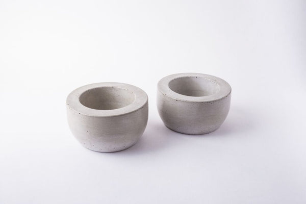 Concrete Pinch Pot Pair
