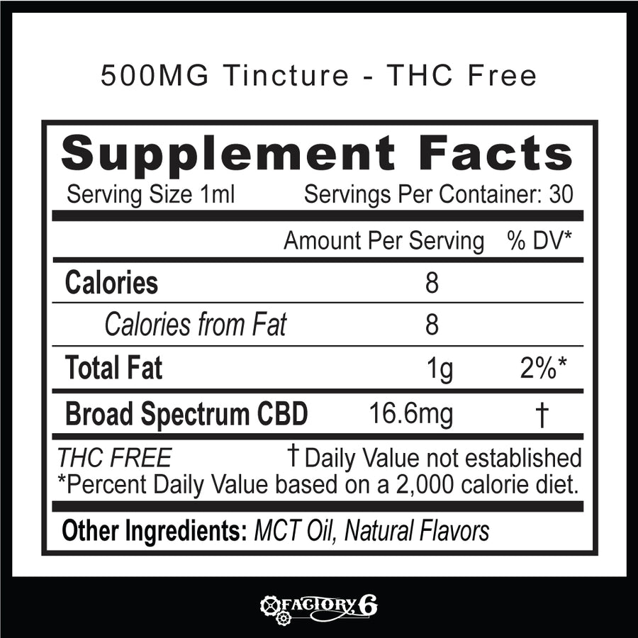 500mg CBD Tinctures  - THC Free&Full Spec - Natural&Mint flavor