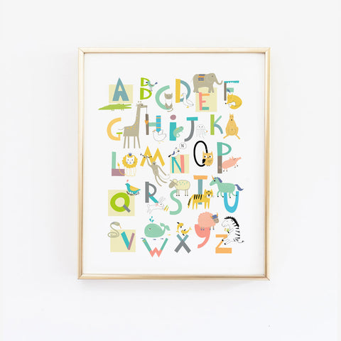 wall art of the alphabet in fun colours. This art features various animals next to the corresponding first letter of their names. It is mounted on a white wall