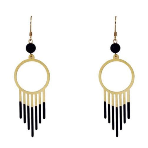Gold and Onyx Drop Earrings