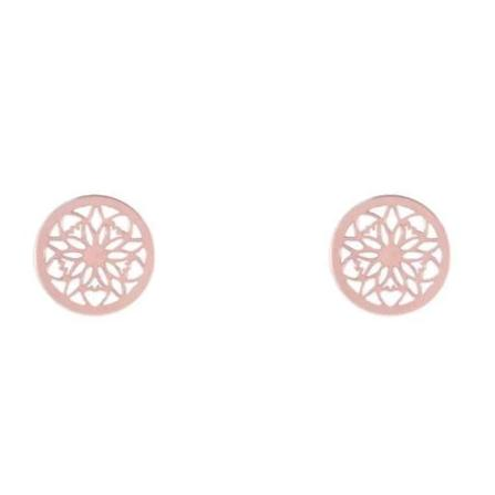 Rose Gold Mandala Stud Earrings