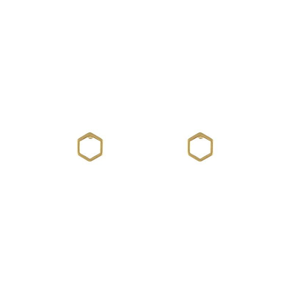 Gold Hexagon Stud Earrings