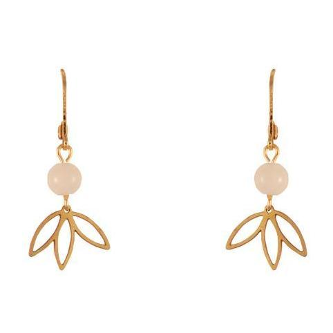 Gold/White Leaf Earrings