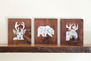 Woodland Animal Wood Art Prints (Set of 3)