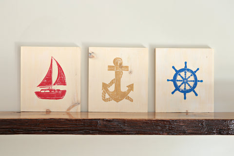 Nautical Wood Art Prints (Set of 3)